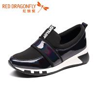 红蜻蜓女鞋夏季新款内增高女韩版休闲镂空乐福鞋单鞋子