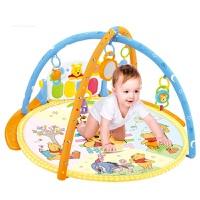 婴儿玩具0-1岁儿童卡通小熊维尼多功能脚踏钢琴 男孩女孩益智玩具音乐健身器生日礼物 维尼熊圆形脚踏钢琴