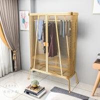 北欧风铁艺网格单人衣柜小户型家用收纳柜现代简约卧室挂衣服柜子 2门 整装