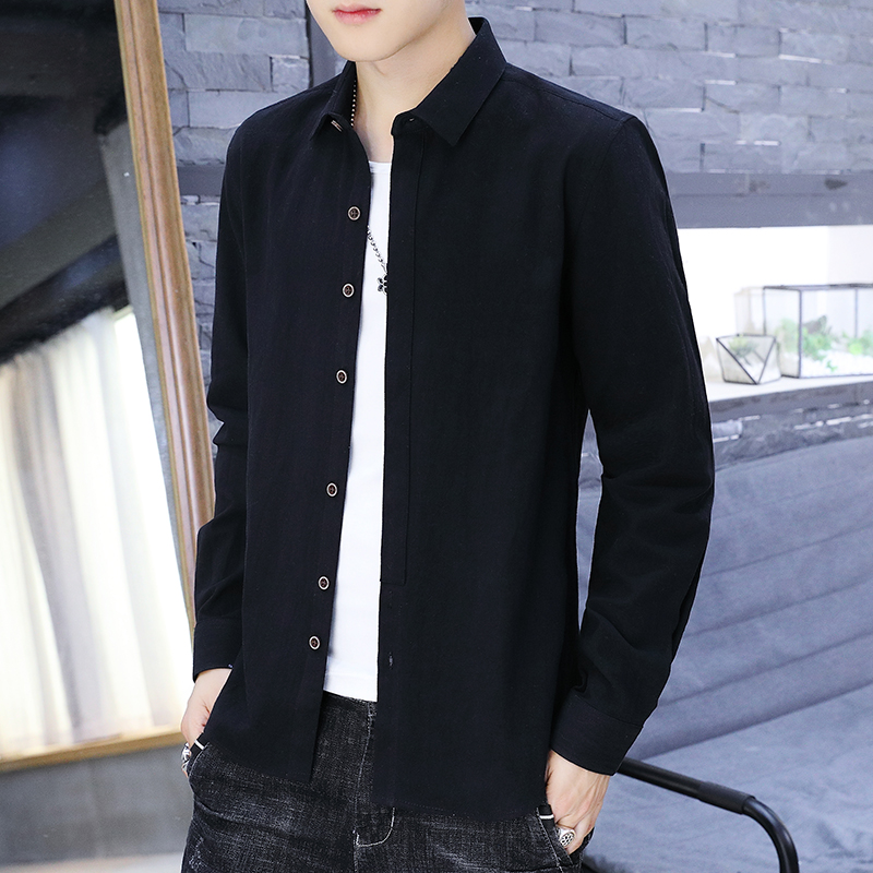 韩版纯棉衬衫男士长袖春秋款潮流修身衬衣青年寸衫
