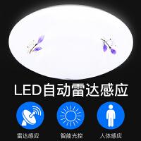 LED吸顶灯圆形工程雷达感应灯楼道人体感应楼梯车库走廊阳台灯具