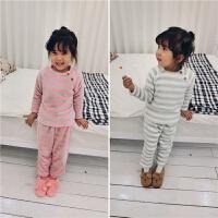 mini旦儿童法兰绒居家服套装女童加厚睡衣两件套小童宝宝保暖衣