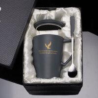 创意陶瓷咖啡杯带盖带勺欧式大容量马克杯简约情侣家用喝水杯杯子