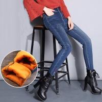 牛仔裤女秋季2017中高腰长裤紧身韩版显瘦小脚铅笔加绒女裤裤