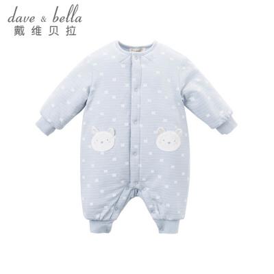 davebella戴维贝拉冬季连体衣 宝宝蓝色小熊夹棉爬服DB6537戴维贝拉 每周二上新  0-6岁品质童装