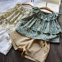清新2018夏装新款儿童韩版碎花吊带衫纯棉短裤热裤两件套女童套装