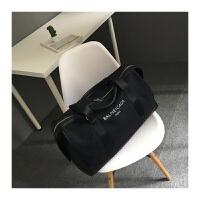 男女款帆布旅行包新款韩版字母印花旅行大包大容量手提单肩斜挎包 黑色 白字 大