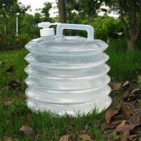 自驾游储水桶 PE折叠水桶 户外饮用水桶储水器 带水龙头10L