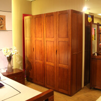 欧式风情海棠木实木衣柜 简易2门衣柜组合 四门衣橱大衣柜