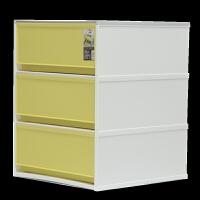 抽屉式塑料收纳盒整理箱大号衣服家用衣柜储物箱收纳柜收纳 中黄(35.7*37*46cm) 3个