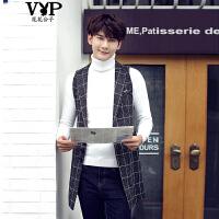 花花公子贵宾 新品男士西装领马甲理发师韩版修身格子青年中长款外套