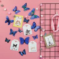创意个性3d立体双层蝴蝶装饰墙贴纸卧室房间墙上布置贴画墙纸自粘