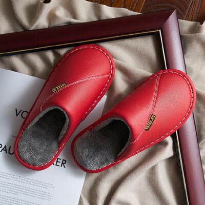 棉拖鞋女室内防水防滑厚底牛筋居家毛绒保暖男皮拖鞋