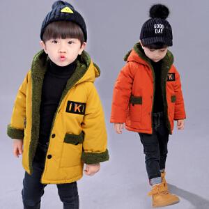 乌龟先森 儿童棉衣 男童可爱卡通造型字母连帽棉袄冬季新款韩版时尚中小童男孩子休闲舒适儿童外套