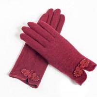 中国结分指韩版显瘦手套羊毛手套女真皮包边保暖单层羊毛手套