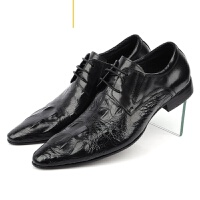 CUM头层皮时装男鞋鳄鱼纹尊贵男式皮鞋英伦透气青年尖头单鞋