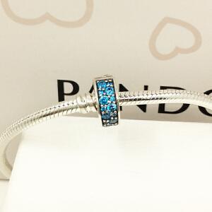 PANDORA潘多拉 亮青色闪烁优雅925银硅胶固定夹791817MCZ