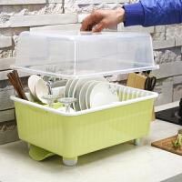 厨房置物架 加大厨房碗柜置物架加厚塑料碗碟沥水架碗架角架碗盘架有盖可沥水