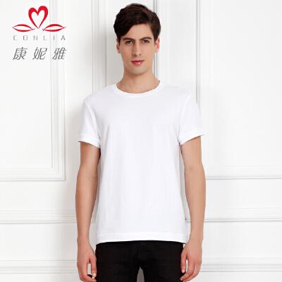 康妮雅夏季新款男装 男棉氨纯色简约百搭短袖T恤上衣先领卷后购物 满399减50