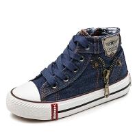童鞋高帮男童板鞋男童牛仔帆布鞋宝宝学步鞋