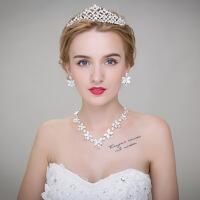 新娘套装日韩式结婚盘发发饰皇冠项链耳环饰品三件套婚纱配 图片色 均码