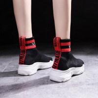 韩版ulzzang潮百搭袜鞋高帮运动鞋女鞋时尚飞织袜子鞋女