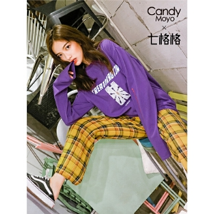 七格格长袖T恤早秋装女新款嘻哈bf韩版宽松欧货潮上衣慵懒冷系女装