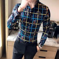 新款秋季花衬衫男长袖潮男个性印花衣服韩版修身格子衬衣夜店潮流