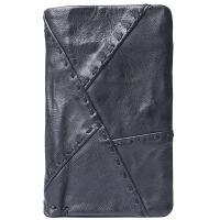 原创复古多功能设计真皮3折竖款钱包 头层羊皮短款拼接搭扣钱夹 经典黑色