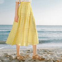 茵曼碎花半身裙夏装新款小清新波点裙a字中长裙蛋糕裙少女感【1802128】