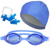 泳帽女 长发韩国时尚可爱PU布防水大号舒适游泳装备 男游泳帽 +5214蓝色三件套