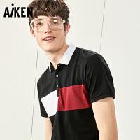 Aiken短袖T恤男士2017夏装新款翻领POLO衫修身半袖体恤美式上衣男