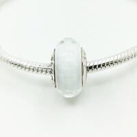 PANDORA潘多拉手链白色切面穆拉诺925银琉璃珠791070
