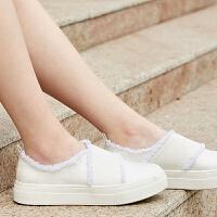【会员节! 每满100减50】Amii极简港风chic毛边装饰百搭小白鞋一脚蹬2018新款休闲鞋