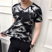 男士短袖t恤韩版V领修身印花衣服男潮流个性冰丝夏季新款半袖t��