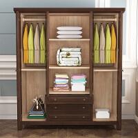 美式乡村实木衣柜4门开门衣柜大衣橱储物柜美式家具 4门 组装