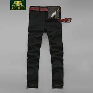战地吉普(AFS JEEP)2017冬装新款男工装裤 加绒加厚保暖多袋宽松休闲男士工装长裤LZ237