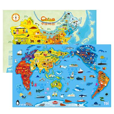 TOI木质磁性中国地图拼图儿童益智玩具世界地图3-4-6-8岁女孩男孩 不起皮不开裂 100片粒子 反面可擦写白板