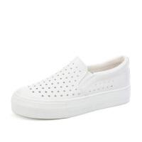 夏季透气小白鞋女镂空乐福鞋套脚一脚蹬白色懒人鞋女厚底板鞋