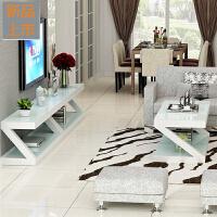 钢化玻璃烤漆电视柜茶几组合客厅简约现代小户型迷你简易电视机柜定制 组装