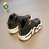 芭芭鸭儿童棉靴子二棉鞋2019冬季新款男童冬鞋运动鞋篮球鞋中大童