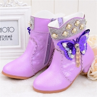 女童高跟短靴秋冬韩版春季加绒棉中大童公主低筒童靴