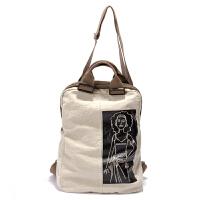 新款休闲双肩包女涂鸦帆布背包简约褶皱棉麻小背包文艺范旅行包 米色
