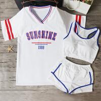 分体泳衣女三件套运动比基尼学生沙滩保守裙式平角遮肚韩国泡温泉 白色 8886