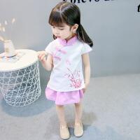 女宝宝夏装唐装套装中国风童装短袖裙子复古小女孩民族风女童汉服