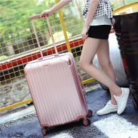拉杆箱万向轮镜面旅行箱男女学生行李箱24寸韩版20寸登机箱子 玫瑰金 20寸