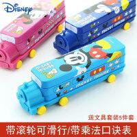迪士尼文具盒男童笔盒小学生创意汽车造型铁盒铅笔盒儿童米奇