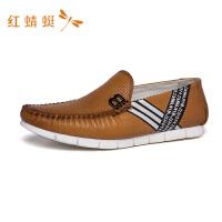 红蜻蜓男鞋休闲皮鞋春秋真皮豆豆鞋软底软皮一脚蹬懒人驾车鞋-