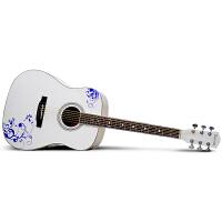 Saysn思雅晨41寸民谣吉他白色木吉他初学者新手入门乐器吉它jita青花瓷套装
