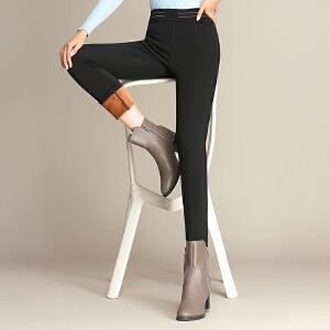 新款冬季黄金绒大码高腰外穿打底裤加绒加厚长裤显瘦铅笔女裤